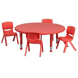 5 Piece Round Adjustable Table Set in Red