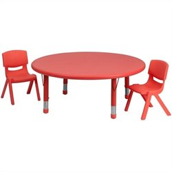 Flash Furniture 3 Piece Round Adjustable Table Set in Red