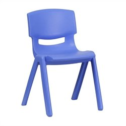 Flash Furniture Plastic Stackable School Chair in Blue - 23