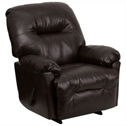 Flash Furniture Contemporary Bentley Chaise Rocker Recliner in Brown
