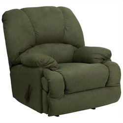 Contemporary Glacier Chaise Rocker Recliner in Olive