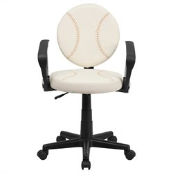 Baseball Task Office Chair with Arms in Cream