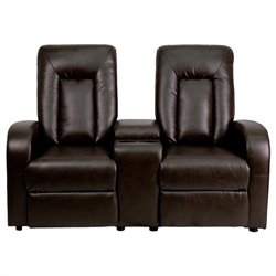 2 Seat Home Theater Recliner in Brown