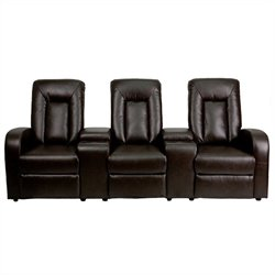 Flash Furniture 3 Seat Home Theater Recliner in Brown