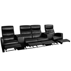 4 Seat Home Theater Recliner in Black
