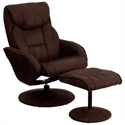 Contemporary Recliner and Ottoman in Dark Brown
