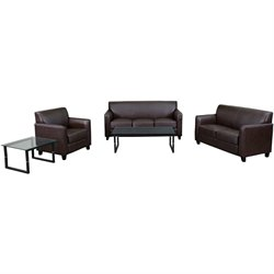 Flash Furniture Hercules Diplomat Series Reception Set in Brown
