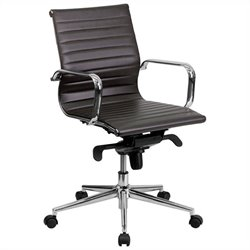 Flash Furniture High Back Ribbed Upholstered Office Chair in Brown