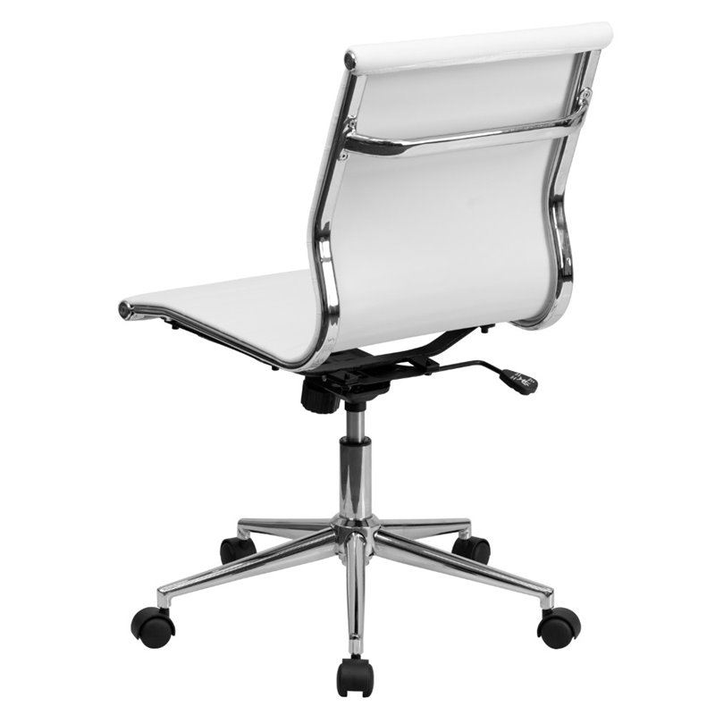 Armless Upholstered Office Chair In White