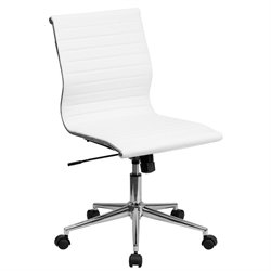Flash Furniture Armless Ribbed Upholstered Conference Chair in White