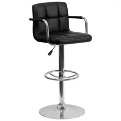 Flash Furniture Quilted Adjustable Bar Stool with Arms in Black