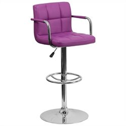 Flash Furniture Quilted Adjustable Bar Stool with Arms in Purple