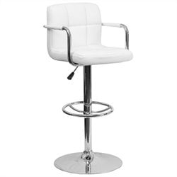 Flash Furniture Quilted Adjustable Bar Stool with Arms in White