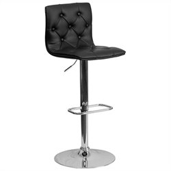Tufted Adjustable Bar Stool in Black