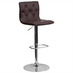 Tufted Adjustable Bar Stool in Brown
