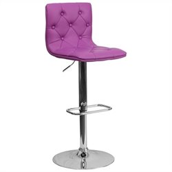 Flash Furniture Tufted Adjustable Bar Stool in Purple