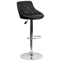 Adjustable Quilted Bucket Seat Bar Stool in Black