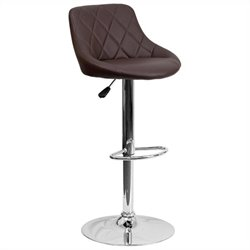 Adjustable Quilted Bucket Seat Bar Stool in Brown
