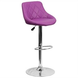 Flash Furniture Adjustable Quilted Bucket Seat Bar Stool in Purple