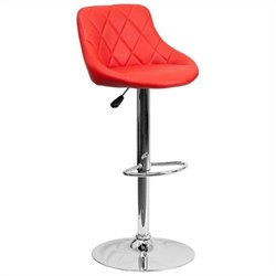Flash Furniture Adjustable Quilted Bucket Seat Bar Stool in Red