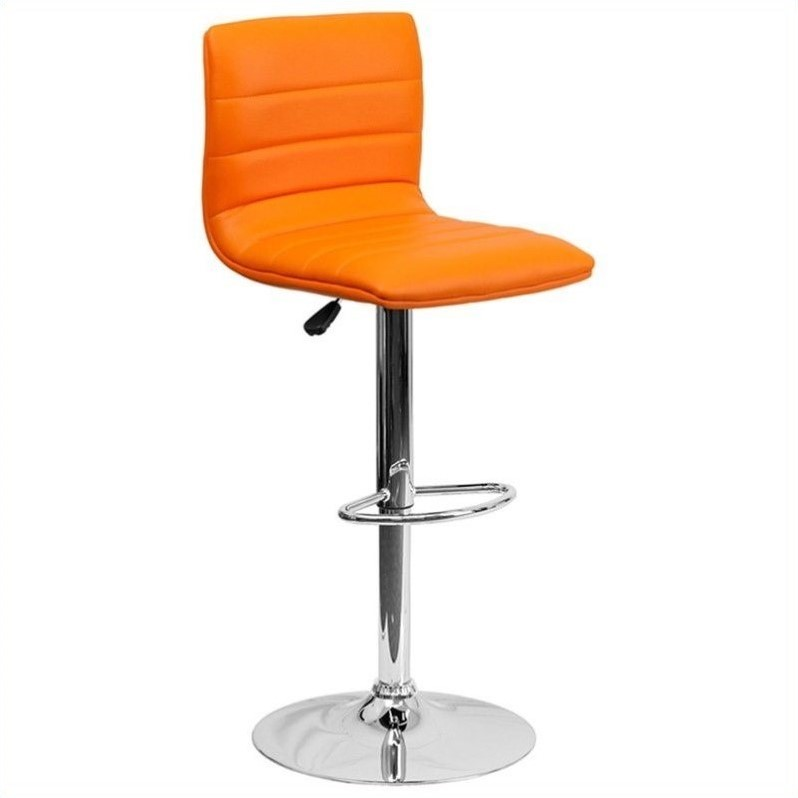 Flash Furniture Striped Bar Stool in Orange