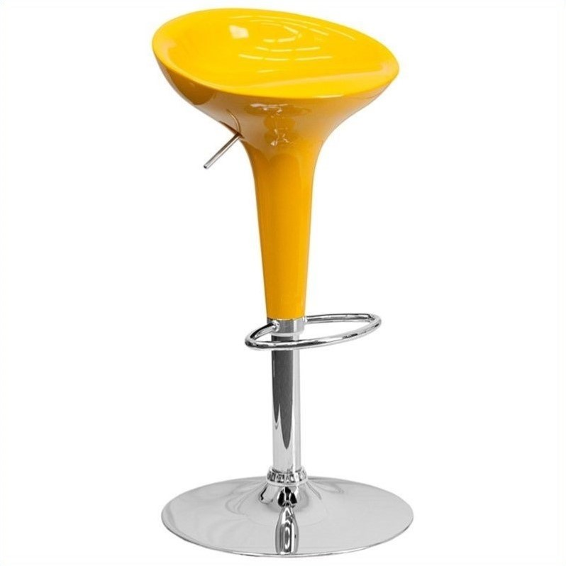 Flash Furniture Adjustable Bar Stool in Glossy Yellow
