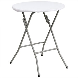 24 Inch Round Granite Folding Table in White