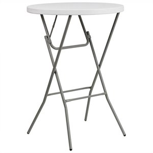 Round Granite Bar Height Folding Table in White