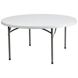 Flash Furniture 60 Inch Round Granite Folding Table in White