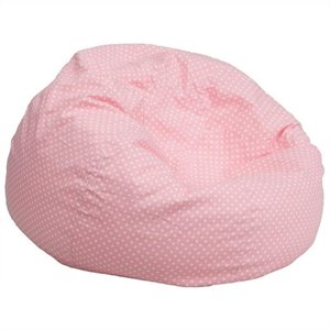 Oversized Dotted Bean Bag Chair in Light Pink