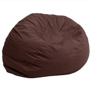 Oversized Solid Bean Bag Chair in Brown