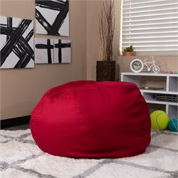 Flash Furniture Oversized Solid Bean Bag Chair in Red