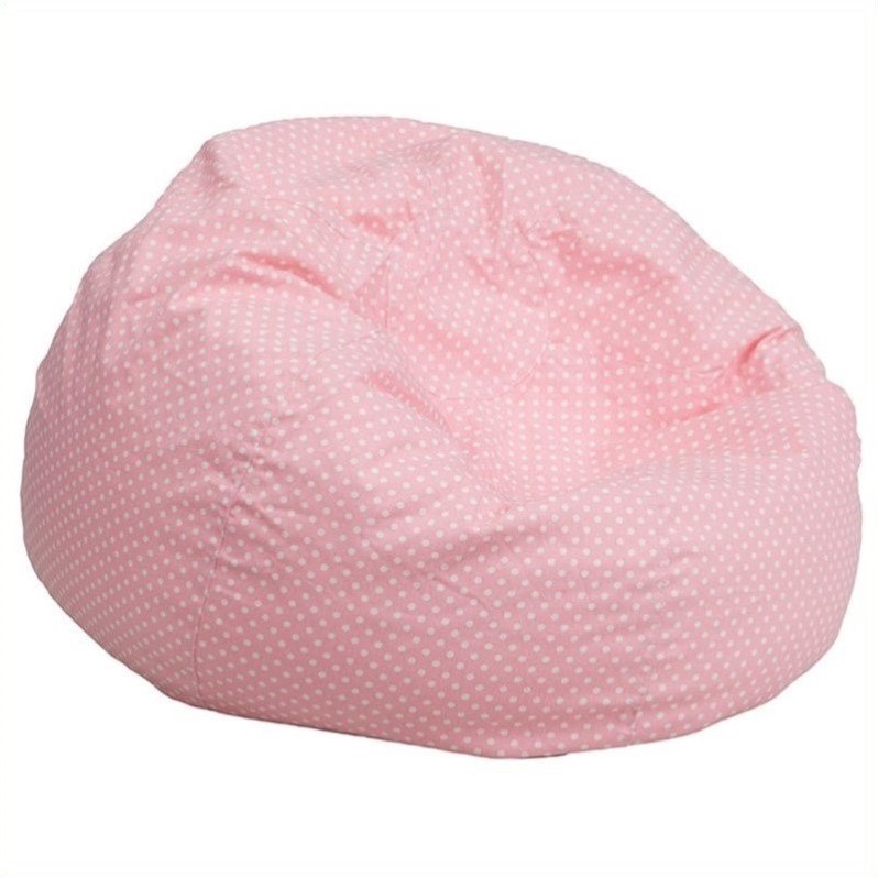 Flash Furniture Kids Bean Bag Chair in Pink with Small Dot Pattern