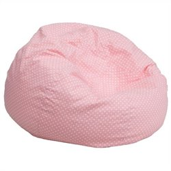 Kids Bean Bag Chair in Pink with Small Dot Pattern