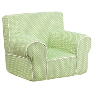 Dotted Small Kids Chair in Green with White Piping