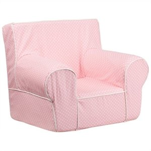 Dotted Small Kids Chair in Pink with White Piping