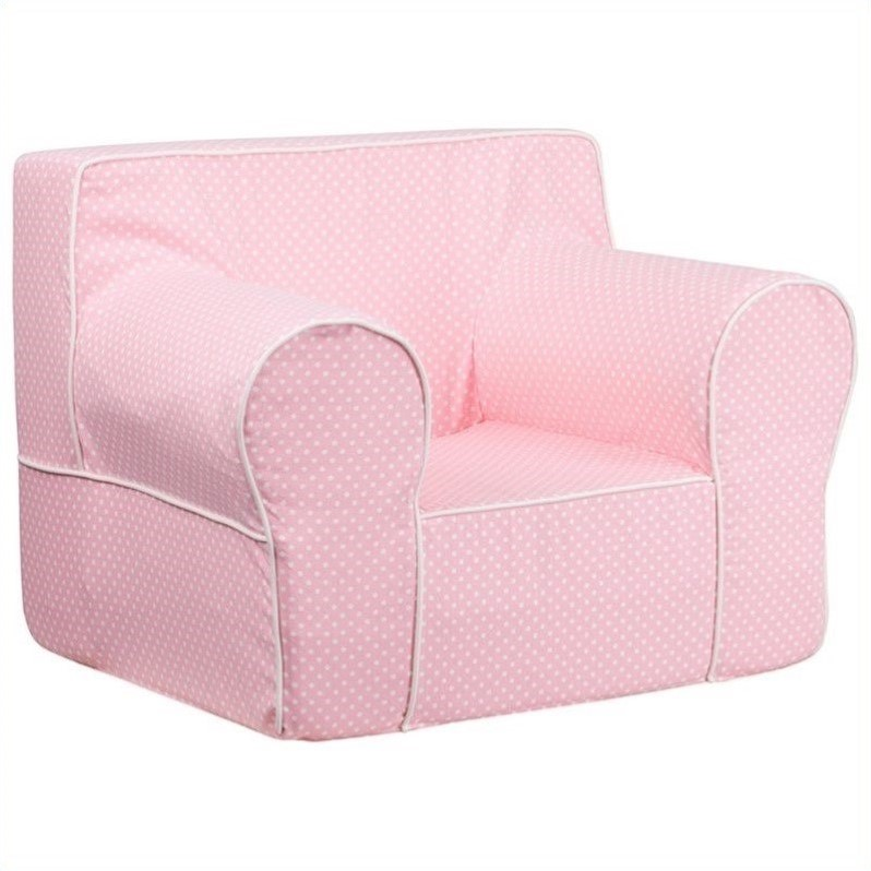 Oversized kids chair with pink dots and white piping dg for Oversized kids chair