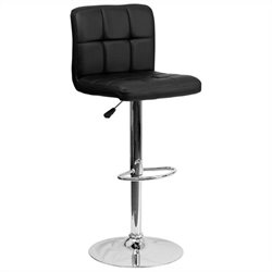 Quilted Adjustable Bar Stool in Black