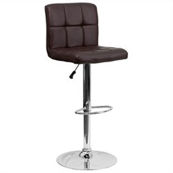Quilted Adjustable Bar Stool in Brown