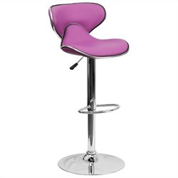 Flash Furniture Mid Back Cozy Adjustable Bar Stool in Purple