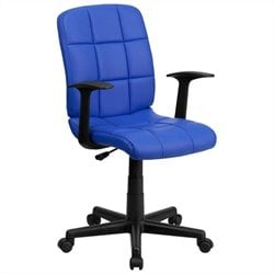 Flash Furniture Mid Back Quilted Task Office Chair with Arms in Blue