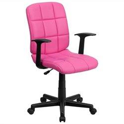 Mid Back Quilted Task Office Chair with Arms in Pink