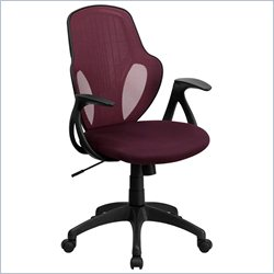 Flash Furniture Mid-Back Mesh Chair with Nylon Base in Burgundy