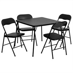 5 Piece Folding Card Dining Table and Chair Set in Black