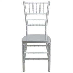 Flash Furniture Elegance Resin Stacking Chiavari Dining Chair in Silver