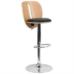 Flash Furniture Adjustable  Bar Stool with Black Seat in Beech
