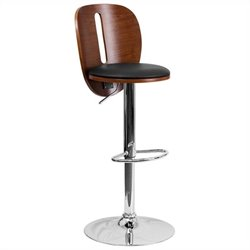Adjustable Bar Stool with Black Seat in Walnut