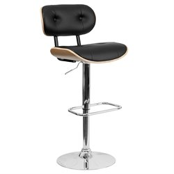 Flash Furniture Adjustable Bentwood Bar Stool in Black and Beech