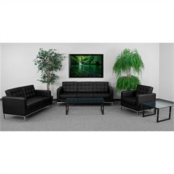 Flash Furniture Hercules Lacey Series Reception Set in Black