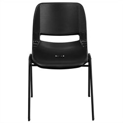 Stack Stacking Chair with Black Frame in Black